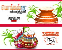 ilustracja Szczęśliwy Pongal żniwa Wakacyjny festiwal tamil nadu India powitania Południowy tło, royalty ilustracja