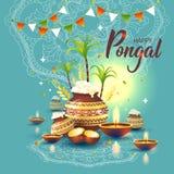 Ilustracja Szczęśliwy Pongal żniwa Wakacyjny festiwal tamil nadu południe India Powitania tło ilustracji