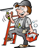 Ilustracja Szczęśliwy Nadokienny Cleaner Obraz Stock