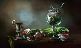 Ilustracja szklana czara na stole ilustracja wektor