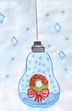 Ilustracja szklana piłka z Bożenarodzeniowym symbolu wiankiem z kwiatami ilustracji