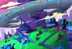 Ilustracja: Tajna stacja kosmiczna budował w górę ilustracja wektor