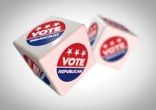 Ilustracja Toczni kostka do gry z głosowaniem reepublican na th i głosowanie demokrata ikony Zdjęcie Stock