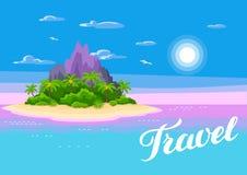 Ilustracja tropikalna wyspa w oceanie Krajobraz z oceanem, drzewkami palmowymi i skałami, tło portfolio więcej mój podróż Fotografia Royalty Free