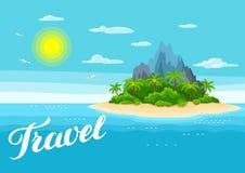 Ilustracja tropikalna wyspa w oceanie Krajobraz z oceanem, drzewkami palmowymi i skałami, tło portfolio więcej mój podróż Zdjęcia Royalty Free