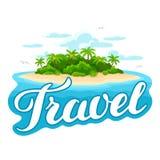 Ilustracja tropikalna wyspa w oceanie Krajobraz z oceanem i drzewkami palmowymi tło portfolio więcej mój podróż Obrazy Stock