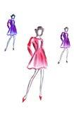 Ilustracja trzy wysoka kobieta w kolorowej krótkiej sukni Zdjęcia Royalty Free