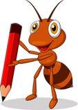 Śliczna mrówki kreskówka trzyma czerwonego ołówek Fotografia Stock