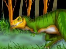 Ilustracja Tyrannosaurus Rex odprowadzenie przez prehistorycznego krajobrazu Ilustracja Wektor