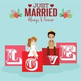Ilustracja uroczej pary ślubna karta Obraz Stock
