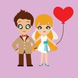 Ilustracja uroczej słodkiej pary ślubna karta Zdjęcie Royalty Free