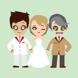 Ilustracja uroczej słodkiej pary ślubna karta Zdjęcie Stock