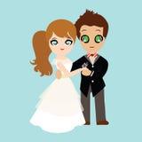 Ilustracja uroczej słodkiej pary ślubna karta Obraz Stock