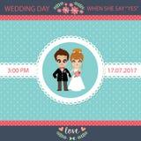 Ilustracja uroczej słodkiej pary ślubna karta Obrazy Royalty Free