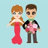 Ilustracja uroczy słodki para ślub Obrazy Stock