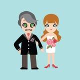 Ilustracja uroczy słodki para ślub Zdjęcie Stock