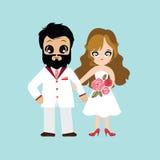 Ilustracja uroczy słodki para ślub Zdjęcia Stock