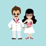 Ilustracja uroczy słodki para ślub Obraz Stock