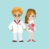 Ilustracja uroczy słodki para ślub Fotografia Stock