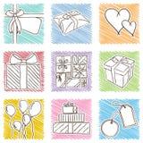 Ilustracja urodzinowe ikony - wręcza patroszonego styl Obrazy Stock