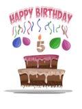 Ilustracja urodzinowy tort w wieku 5 Obraz Royalty Free