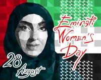 Ilustracja w stylu niskiego wieloboka dedykującego Emirati kobiet s dzień royalty ilustracja