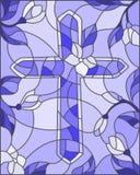 Ilustracja w stylu witrażu okno z abstrakcjonistycznym krzyżem i kwiatami błękitna gamma Zdjęcia Royalty Free