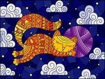 Ilustracja w witrażu stylu kreskówka czerwony kot ściska piłkę przędza na tle gwiaździsty niebo i chmury royalty ilustracja