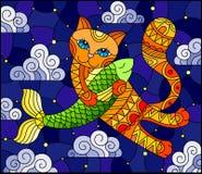 Ilustracja w witrażu stylu kreskówka czerwony kot ściska ryby na tle gwiaździsty niebo i chmury ilustracja wektor