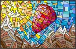 Ilustracja w witrażu stylu z balonem na tle góry i słońce Obraz Stock