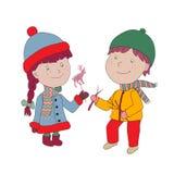 Ilustracja Wektorowa Ilustracja Chłopiec i dziewczyna w żakiecie i kapeluszu z Obrazy Stock