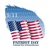 Ilustracja Wektorowy patriota dnia plakat Września 11th 2001 Papierowy literowanie na Zamazanej usa flaga Royalty Ilustracja