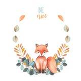 Ilustracja, wianek z akwareli lisa, błękita i pomarańcze roślinami, ręka rysująca Obrazy Stock