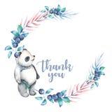 Ilustracja, wianek z akwareli pandą, czarna jagoda i rośliny, Obrazy Royalty Free