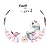Ilustracja, wianek z akwareli pandy, menchii i purpur roślinami, Zdjęcie Royalty Free