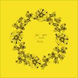 Ilustracja wianek z pszczołami i kwiatami Zdjęcia Royalty Free
