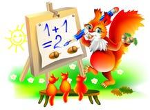 Ilustracja wiewiórki uczy się obliczenie liczby Obraz Royalty Free