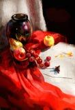 Ilustracja winogrona na stole royalty ilustracja