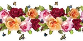 Ilustracja wzór róże i motyle ilustracja wektor