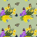 Ilustracja wzór z wiosna motylami i kwiatami royalty ilustracja
