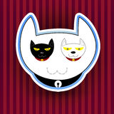 Ilustracja z śmiesznym ślicznym kotem Zdjęcia Stock