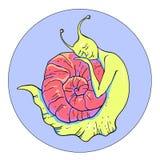 Ilustracja z śpiącym ślimaczkiem Royalty Ilustracja