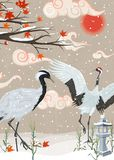 Ilustracja z żurawiami i opad śniegu przy zmierzchem ilustracja wektor
