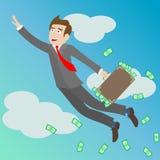 Ilustracja z biznesmenem lata up z walizką pełno pieniądze w niebie, pojęć osiągnięcia w biznesie Zdjęcia Royalty Free