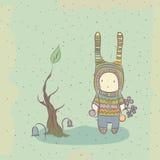Ilustracja z charakterem i drzewem Zdjęcia Royalty Free