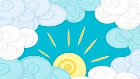 Ilustracja z chmurami i słońcem, materialny projekt Zdjęcia Stock