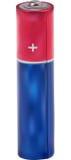 Ilustracja z czerwoną i błękitną małą baterią Obraz Stock