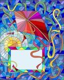 Ilustracja z czerwoną kanią i rama na tle niebieskie niebo i słońce Fotografia Royalty Free