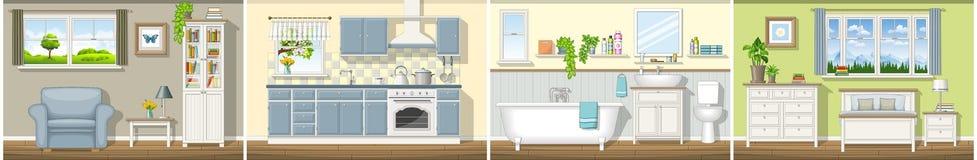 Ilustracja z cztery klasycznymi mieszkaniowymi wnętrzami Obraz Stock