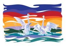 Ilustracja z dwa łabędź Zdjęcia Stock
